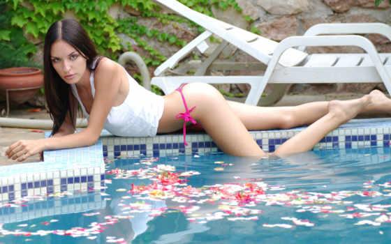 бассейн, swimming, brunette