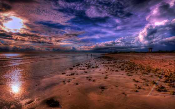 пляж, закат, clouds