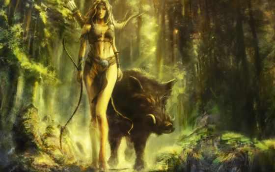 свинья, art, лес, девушка, лук, cyrilbarreaux,