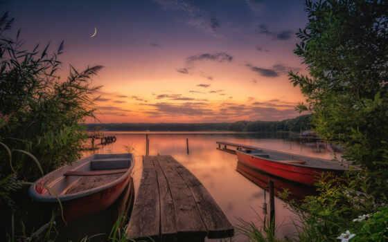ночь, корабль, природа, цветы, объект, река, shirokoformatnyi, англия, йоркширский, pleasant