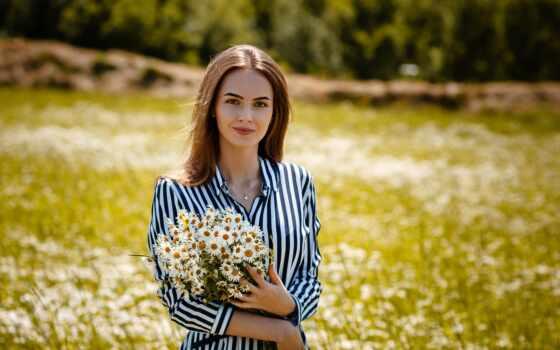девушка, ромашка, aleksey, улыбка, взгляд, gilevyi, arm, stand, цветы, букет, фото