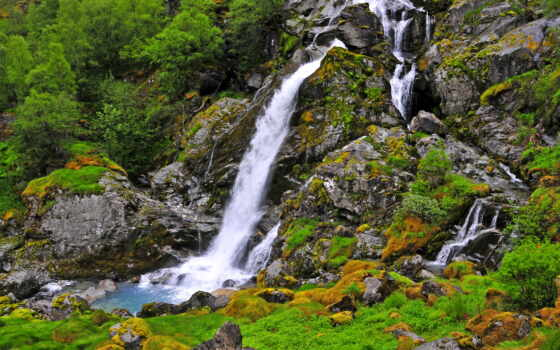 водопады, природа, пейзажи -