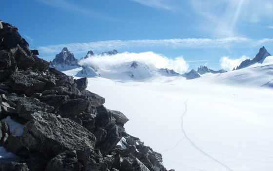горы, снежные, avalanche