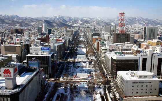 japanese, winter, улица, японии, park, здания, снег, город, country, горы,