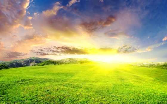 summer, sun, ослепительное, зелёная, горы, landscape, sunbeam, небо, поляна,