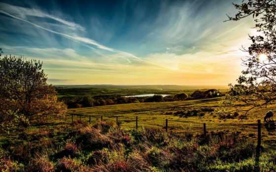 великобритания, небо, трава, horwich, луга, oblaka, природа, горизонт,