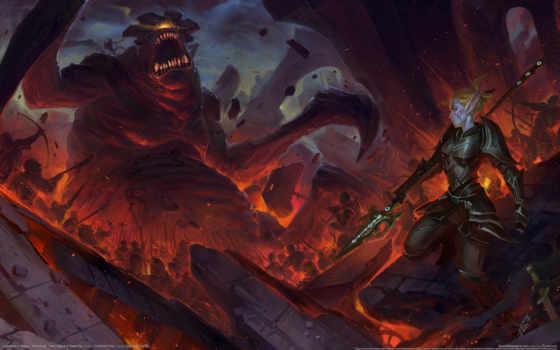 огонь, chaos, monster, эльфийка, хостинг, бой, воительница, рисунки, war,