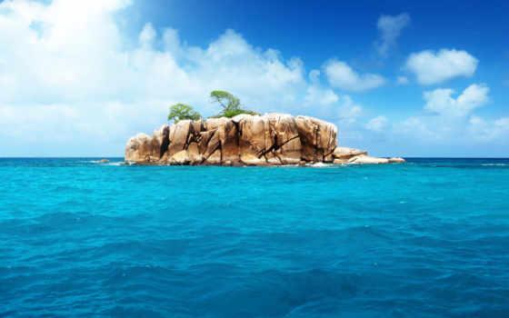 остров, ocean, ан, море, далее, природа, landscape,