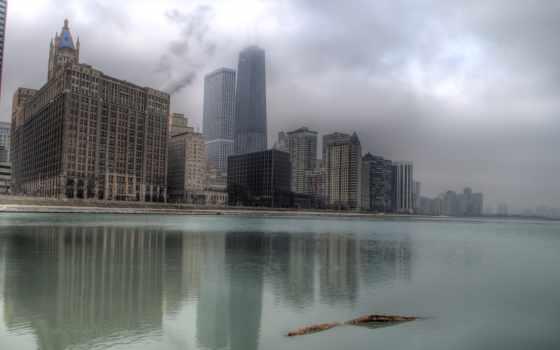 туман, chicago, здания