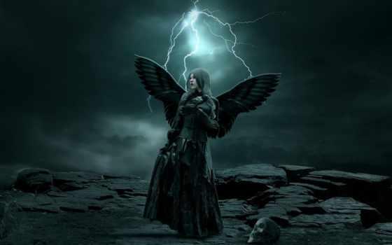 девушка, fantasy, спинои, ангела, за, крыльями, angel, одежде, руках, держащая, черной,
