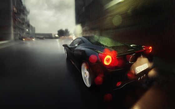 дорога, дождь, ferrari