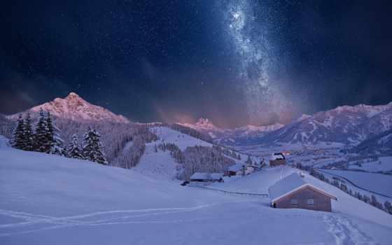 снег, ночь, winter