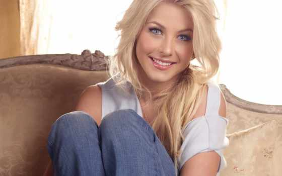 радость, девушка, улыбка, julianne, взгляд, blonde, hough,