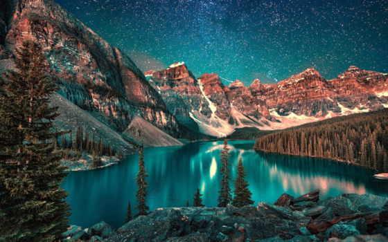 озеро, moraine, banff, канада, park, national, альберта, ночь,