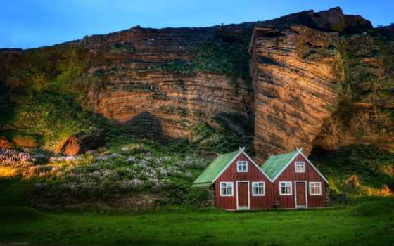 iceland, свет, гора, rock, church, монитора, домики, луг, кб, дата,