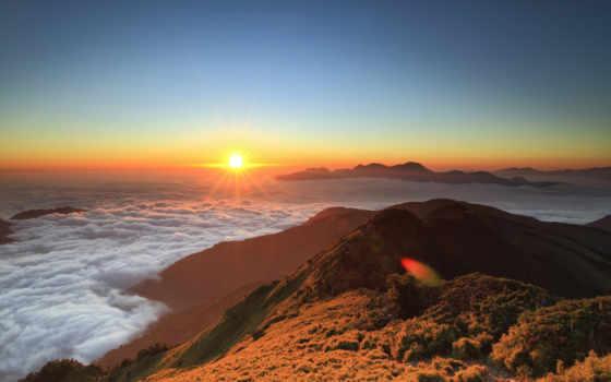 high, высотный, clouds, восход, sun, плавающий, гора,