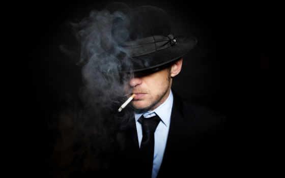 мужчина, шляпе, рту, костюме, сигаретой, галстуке, черном, мужчины,