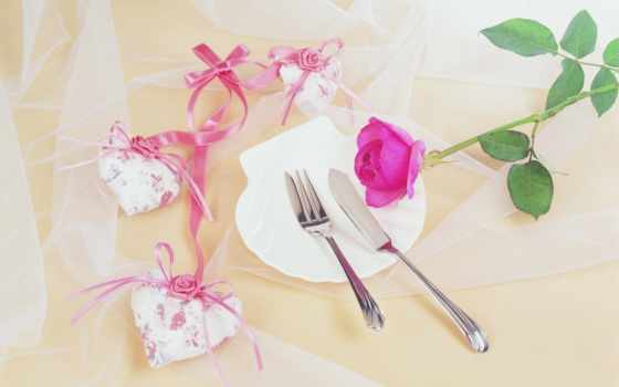 роза, cvety, цветы, розовая, праздник, fork, табличка, сердце, нож, tape,