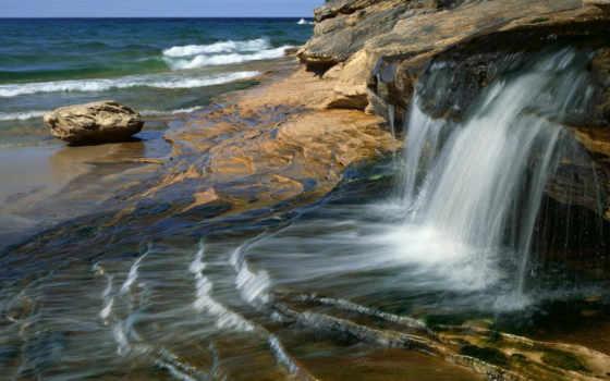 море, водопад, берег, камни, скалы, water, природа, waves, стекающий,