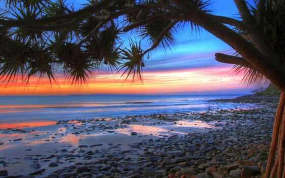 ocean, закат, небо, oblaka, камни, море, surf, берег, песок, побережье, вечер,