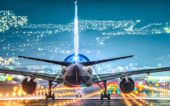 plane, airport, посадка, авиация, город, ночь, vzletka