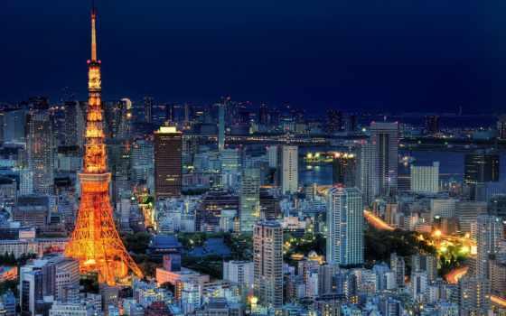 tokio, столица, небоскребы, мегаполис, ночь, огни, небо, japanese, blue, tokyo,