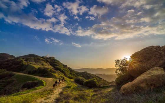 topanga, california, природа, закат, всадники, небо, landscape, ковбои,