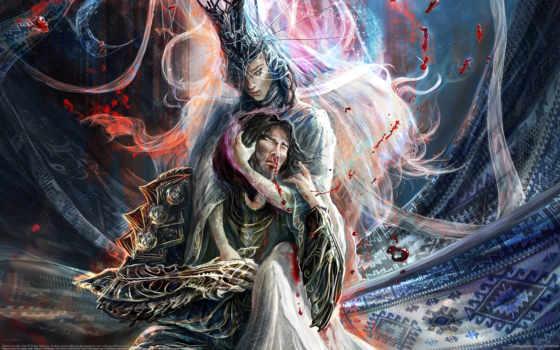 воин, кровь, девушка, мужчина, witch, женщина, fantasy, дракон, art,