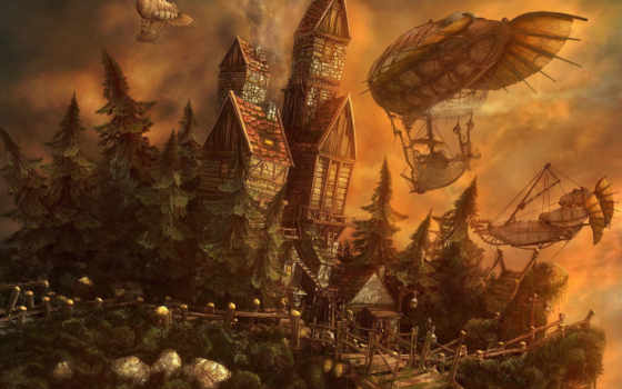 fantasy, дома, steampunk,