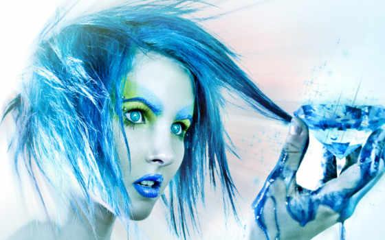 синяя, эльфийка