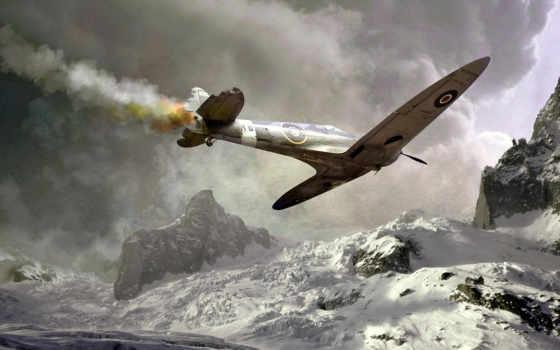spitfire, download, подбитый, самолёт, авария, click, снег, free, картинка, авиация,