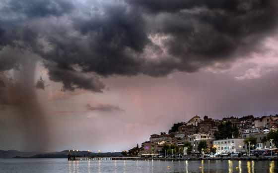 город, дождь, you, море, lazio, sabazia, гроза, anguillara, тучи,