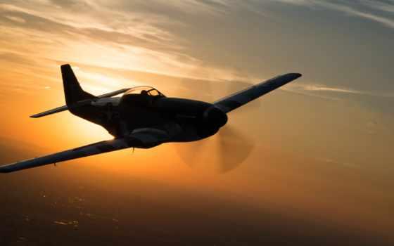mustang, north, американский, истребитель, полет,
