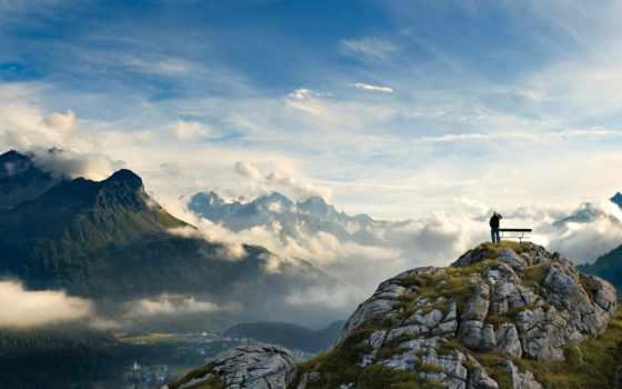 горы, небо, долина, trees, красавица, landscape, oblaka, панорама, height, мужчина, восторг,