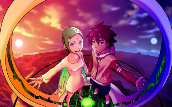 anime, парень, девушка