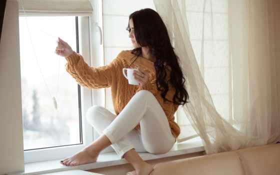 , девушка, окно, кофе