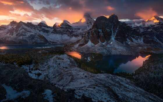 гора, снег, облако, озеро, winter, fore, картинка
