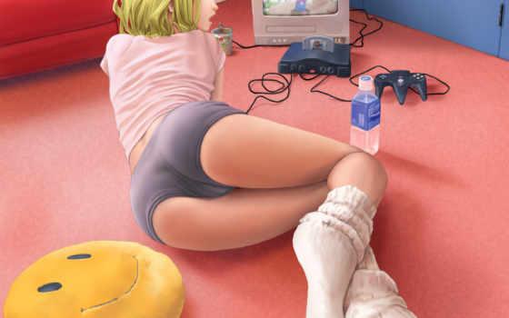 девушка, console, anime, играет,