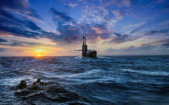 подводная, лодка, море, небо, закат, аквалангисты,