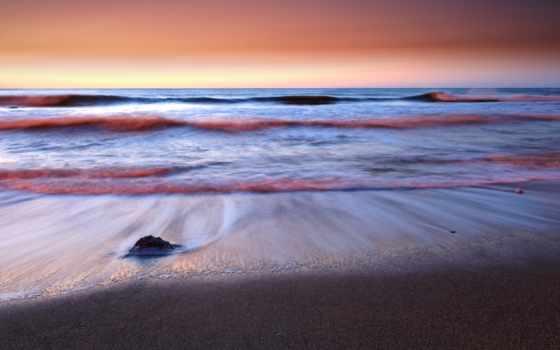 море, рассвет, waves
