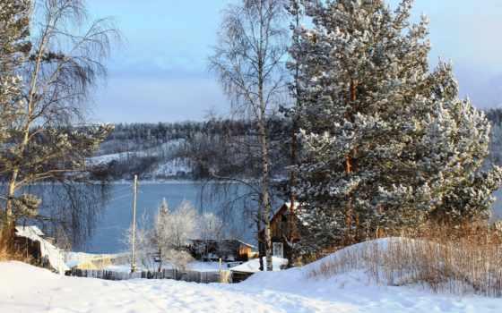 russian, winter, снег, природа, trees, река, картинка,