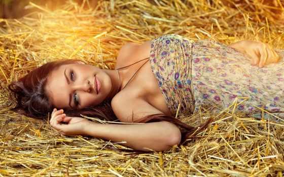 devushki, cvety, девушка, цветастом, разные, эти, платье, сено, поле, природы, just,