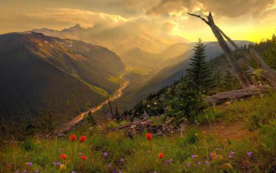природа, сумерки, горы, пейзажи -, панорама, landscapes, долина, закат,