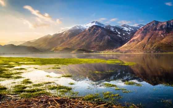 озеро, гора, landscape