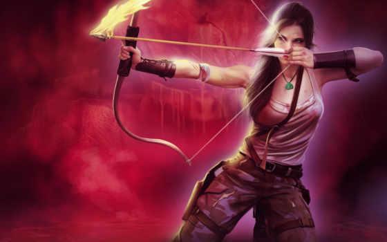 игры, tomb, девушка, raider, игровые, широкоформатные, art, оружие, лара, лук,