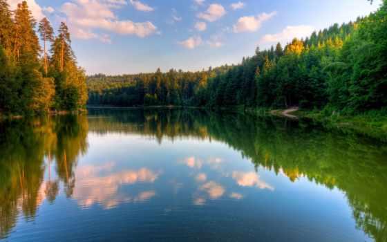 природа, summer, поле, страница, отражение, реке, тематика,