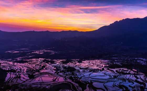 рис, рассвете, горах, выращивание, япония,
