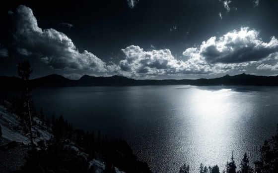 широкоформатные, чёрно, белое, водная, небо, гладь, oblaka, тёмное, белые, trees,