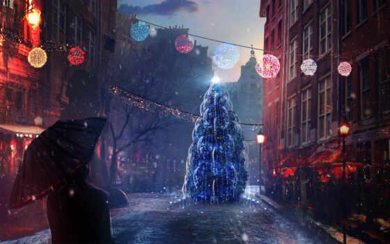 улица, праздник, елка, город, новый год, new, christmas, день, деревня, ночь