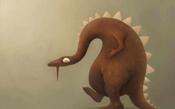 динозавр, профиль, ящер, язык, рисунок, картинка, картинку,